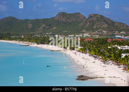 Elevated view over Jolly Harbour and Jolly Beach, Antigua, Leeward Islands, West Indies, Caribbean, Central America - Stock Photo