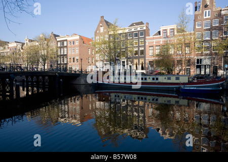Houses along the Singel Canal, Amsterdam, Netherlands, Europe - Stock Photo