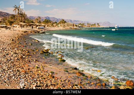 Beach and Gulf of Aqaba, Nuweiba, Sinai, Egypt, North Africa, Africa - Stock Photo