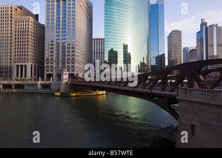 Skyscrapers on West Wacker Drive and the Chicago River by the Franklyn Street Bridge, Chicago Illinois, United States - Stock Photo