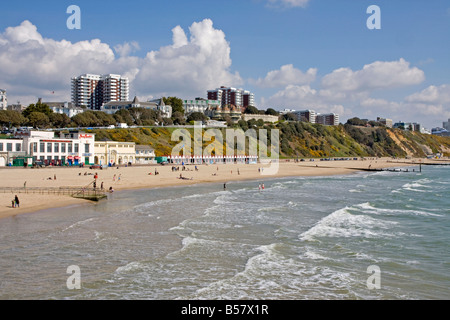East Cliffs and beach, Bournemouth, Dorset, England, United Kingdom, Europe - Stock Photo