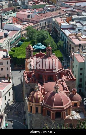 View of city from the Pipila monument with Iglesia de San Diego church, Guanajuato, Guanajuato State, Mexico - Stock Photo