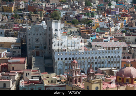 University of Guanajuato, the blue grey building, in Guanajuato, a UNESCO World Heritage Site, Guanajuato State, - Stock Photo