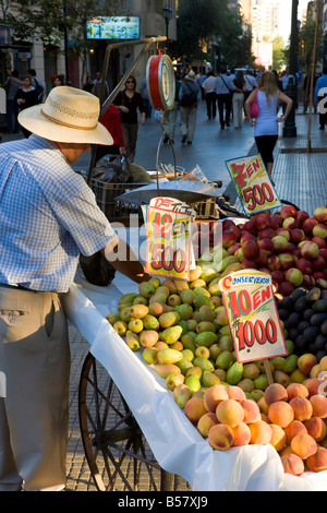 Stall selling fruit in central Santiago on Avenue O'Higgins, Santiago, Chile, South America - Stock Photo