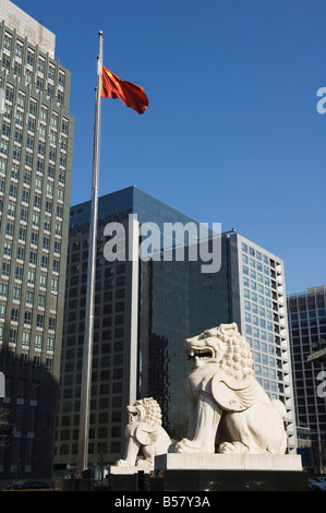 A stone lion statue in the CBD business district, Beijing, China, Asia - Stock Photo