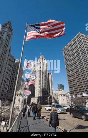 Wrigley Building on left, Tribune Building center, Chicago, Illinois, United States of America, North America - Stock Photo