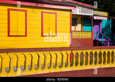 Colourful painted houses in St. John's, Antigua, Leeward Islands, West Indies, Caribbean, Central America - Stock Photo