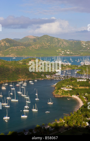 Elevated view of English Harbour from Shirley Heights looking towards Nelson's Dockyard, Antigua, Leeward Island, - Stock Photo