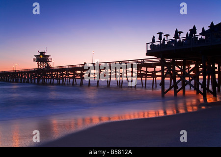 Municipal Pier at sunset, San Clemente, Orange County, Southern California, United States of America, North America - Stock Photo