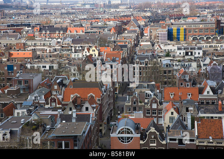 High angle view over the Jordaan district, Amsterdam, Netherlands, Europe - Stock Photo