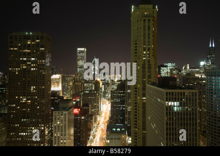 Night shot of the Magnificent Mile taken from the Hancock Building, Chicago, Illinois, United States of America, - Stock Photo
