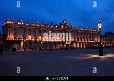 Evening floodlit view of the Hotel de Ville, Place Stanislas, UNESCO World Heritage Site, Nancy, Lorraine, France, - Stock Photo