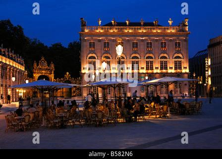 Evening floodlit view of Place Stanislas, UNESCO World Heritage Site, Nancy, Lorraine, France, Europe - Stock Photo