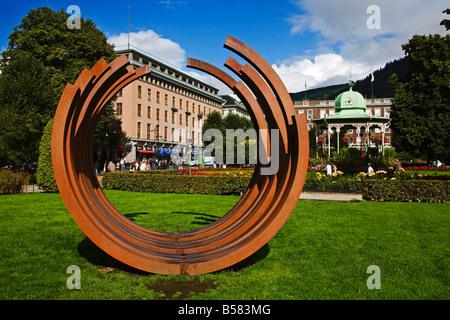 Sculpture outside the West Norway Museum of Decorative Art, Bergen city, Norway, Scandinavia, Europe - Stock Photo