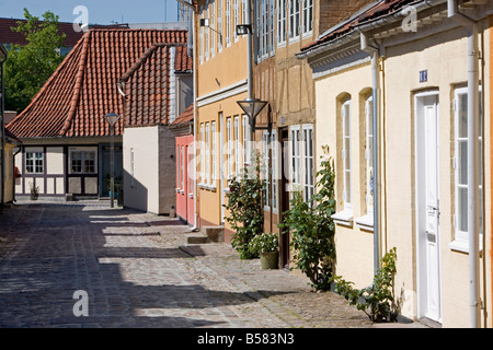 Overgade and Nedergate, area where Hans Christian Andersen was born, Odense, Funen, Denmark, Scandinavia, Europe - Stock Photo