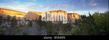 First light on the hills, Zion National Park, Utah, United States of America, North America - Stock Photo