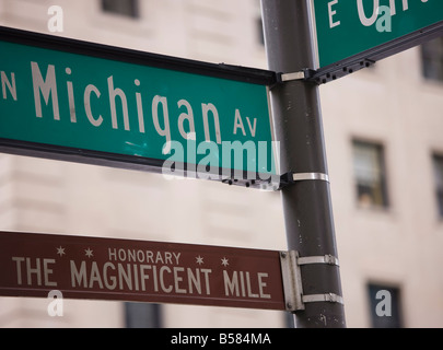 Signposts, the Magnificent Mile, North Michigan Avenue, Chicago, Illinois, USA - Stock Photo