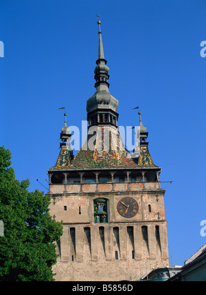 Clock tower, built in the 13th and 14th centuries and rebuilt in the 17th, Sighisoara, UNESCO World Heritage Site, - Stock Photo