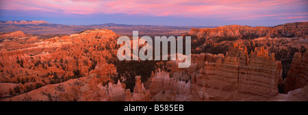 View from Sunset Point at sunset, Bryce Canyon National Park, Utah, United States of America, North America - Stock Photo