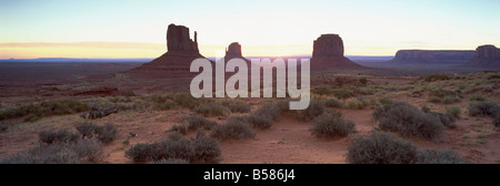 The Mittens at sunrise, Monument Valley Tribal Park, Arizona, United States of America, North America - Stock Photo