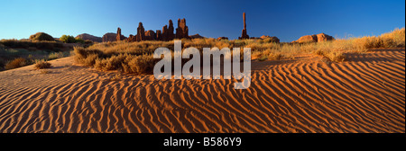 Totem Pole and Sand Springs, Monument Valley Tribal Park, Arizona, United States of America, North America - Stock Photo