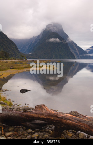 Mitre Peak, Milford Sound, South Westland, South Island, New Zealand, Pacific - Stock Photo