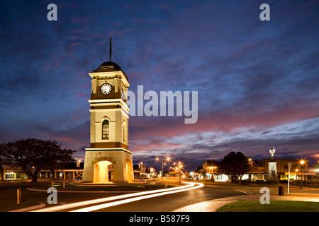 Clock tower in the square, Feilding, Manawatu, North Island, New Zealand, Pacific - Stock Photo