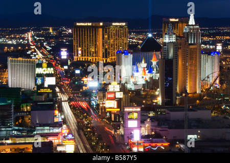 Neon lights of the The Strip at night, Las Vegas, Nevada, United States of America, North America - Stock Photo
