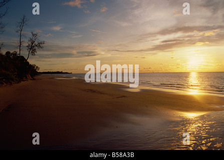 Beach near Jerudona, Brunei, Borneo, South China Sea - Stock Photo