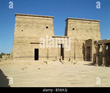 Temple of Isis Philae UNESCO World Heritage Site Agilka near Aswan Egypt North Africa Africa - Stock Photo
