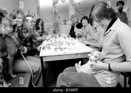 Dog Owners and their pets seen here having a Christmas party. December 1976 76-07481-014 - Stock Photo
