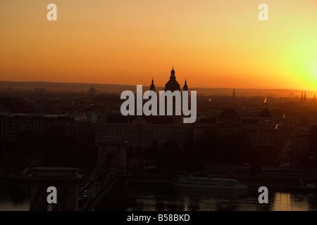 Sunrise, Saint Stephen's Basilica dome, Budapest, Hungary - Stock Photo