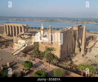 Luxor Temple, and the Abu el Haggag Mosque built in the middle, from the top of the New Mosque, Luxor, Thebes, Egypt - Stock Photo