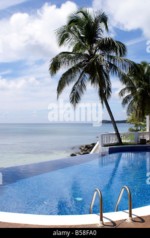 Infinity pool an palm tree at Casa Canada hotel on Big Corn Island, Nicaragua, Central America - Stock Photo
