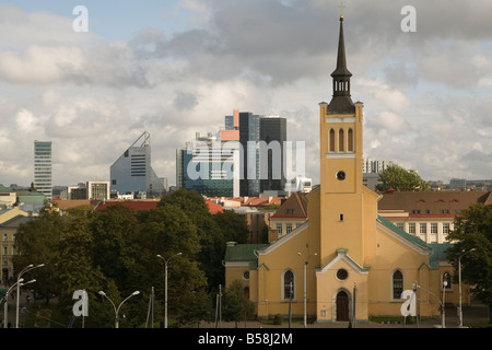 St Johns church and New city Tallinn Estonia Baltic States Europe - Stock Photo