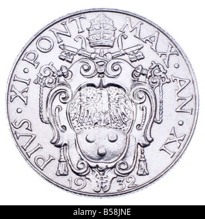 Vatican City coin of 1932 Pope Pius XI - Stock Photo