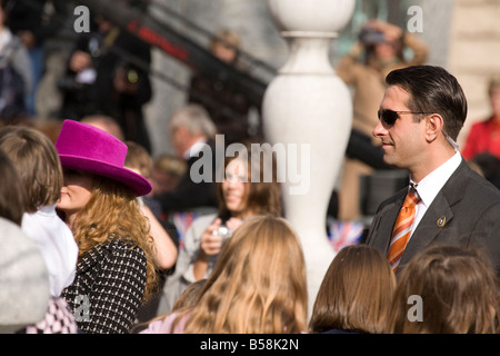 Security for the Queens walk around the triple bridge in Ljubljana on her visit to Slovenia - Stock Photo