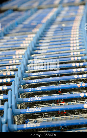 Hundreds of Tesco shopping trolleys stacked and ready for the next customer. Picture by Jim Holden. - Stock Photo