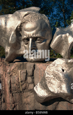 Close-up of the face of Sibelius on the monument to the composer in Helsinki, Finland, Scandinavia, Europe - Stock Photo