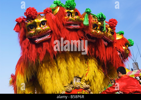 Lion Dance, Chinese New Year, Spring Festival, Beijing, China - Stock Photo