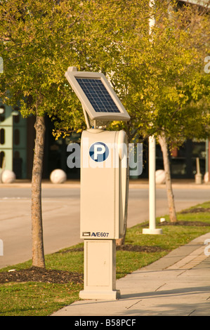 Solar Energy panel solar power going green Solar technology solar powered multi space parking meter Houston Texas - Stock Photo