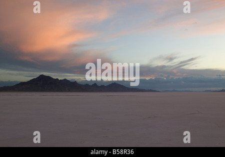 Bonneville Salt flats speedway Utah USA - Stock Photo