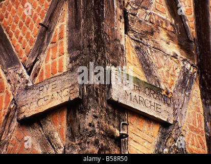 Detail of street signs Old Town Tours Indre et Loire Loire Valley France Europe - Stock Photo