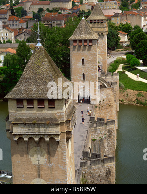 Pont Valentre Cahors Lot Midi Pyrenees France Europe - Stock Photo