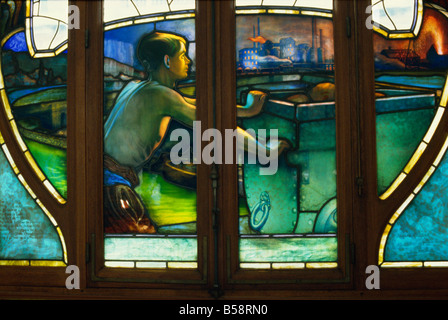 Detail of Art Nouveau stained glass, Chambres de Commerce, Nancy, Lorraine, France, Europe - Stock Photo