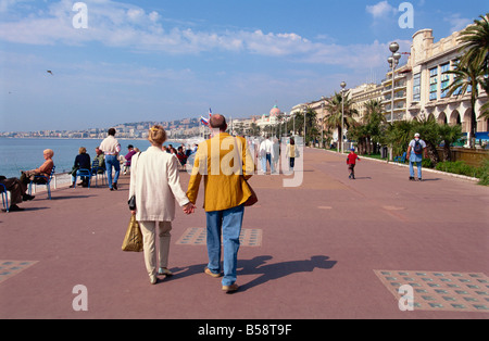 Promenade des Anglais, Nice, Alpes Maritimes, Provence, France, Mediterranean, Europe - Stock Photo