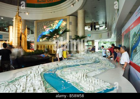 Scale plan of the Shanghai of the future, Shanghai Urban Planning and Expo 2010 Exhibition Hall, Shanghai, China - Stock Photo