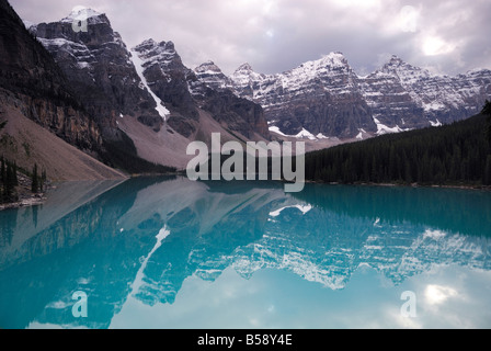 Storm clouds over Moraine Lake in Banff National Park, Canadian Rockies - Stock Photo