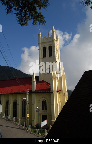 View of the main landmark The Christ Church in Shimla, Himachal Pradesh, a Hill Station in North India - Stock Photo