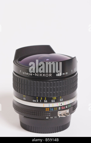 A Nikon 16mm f2.8 ais Nikkor full frame fisheye extreme wide angle manual focus lens for Nikon 35mm slr film cameras - Stock Photo